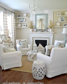 When it comes to the layout of your coastal living room, it will depend on what pieces of furniture you have – but how do you choose what living room furniture to add, whether you're refreshing your living room design… Continue Reading → Coastal Bedrooms, Coastal Living Rooms, Home Living Room, Living Room Designs, Coastal Curtains, Cottage Living Room Small, Living Area, Style At Home, Home Design