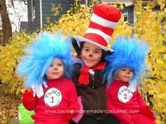 Homemade Thing 1 and 2 Costume: In 2009 I dressed my girls as Thing 1,2 & the Cat in the Hat.  For the Homemade Thing 1 and 2 Costume I ordered a size larger American apparel long sleeve