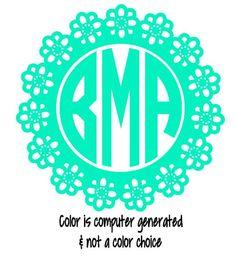 One Color Vinyl Decorative Circle Monogram Custom Initials Car Decal Monogram Sticker Laptop Decal Laptop Monogram iphone monogram label