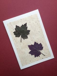 Handmade Card - Pressed Purple Heuchera Leaves on Natural £4.00