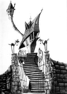 Tim Burton s The Nightmare Before Christmas Jack Skellington s house Tim Burton House, Arte Tim Burton, Tim Burton Stil, Tim Burton Kunst, Tim Burton Films, Tim Burton Art Style, Tim Burton Artwork, Tim Burton Drawings, Norman Rockwell