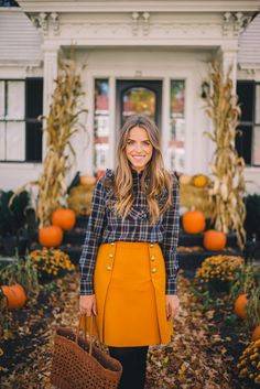 Gal Meets Glam Fall In Woodstock, Vermont - Maison Kitsune top, J.Crew skirt, J.Crew tights, Maje boots & Dragon Diffusion Tote