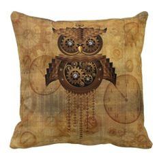 cute as a button steampunk owl pillow  http://www.zazzle.com/steampunk_owl_vintage_style_pillow-189975032379709859#