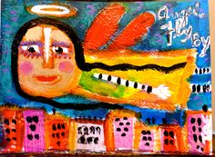 """""""Angel Fly By"""" an original acrylic collage by Tracey Ann Finley #outsiderart #angel"""