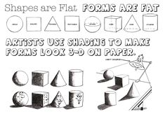 Shapes are flat, forms are fat.