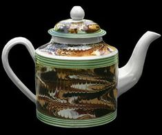 Mochaware - Teapot with combed marble decoration and green-glazed rilling, 5 1/2  (I love the technique and the colorations)
