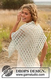 "Ravelry: 130-32 Shawl in ""Cotton Viscose"" pattern by DROPS design"