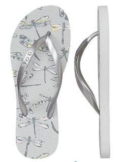 Women's Dragonfly Print Flip Flops.  Want.
