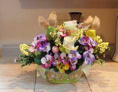 Easter Burlap Bunny Floral Basket Pam's DeZines by PamsDeZines
