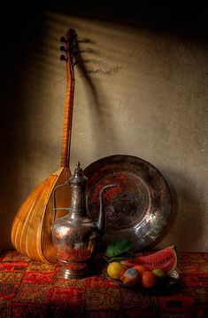 Lute and watermelon – Another in the Turkish still life series. Thanks for your … - Obst Still Life Photography, Family Photography, Landscape Photography, Painting Still Life, Still Life Art, Mandoline, 100 Fun, Still Life Photos, Realistic Drawings