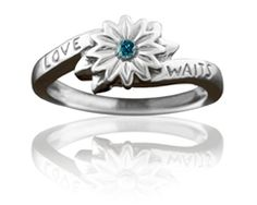 Hani's favorite... Girls Purity Ring Silver Love Waits Flower with Blue Diamond
