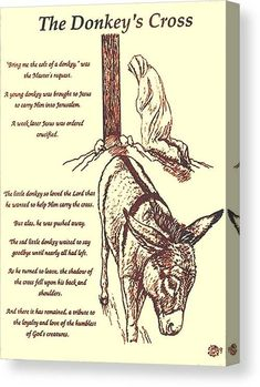 The Donkey's Cross Canvas Print / Canvas Art by Mary Singer Cross Drawing, Horse Behavior, Very Nice Images, Church Signs, Canvas Art, Canvas Prints, Wild Creatures, The Donkey, Canvas Material