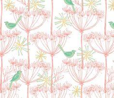 Sketchy Plants & Birds - Spoonflower