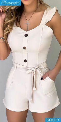 Frill Sleeve Sweetheart Neck Tied Romper in 2020 Rompers For Teens, Jumpsuits For Women, Classy Outfits, Pretty Outfits, Cute Outfits, Girl Fashion, Fashion Dresses, Pattern Fashion, Fashion Sets