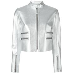 Fendi metallic leather jacket ($5,170) ❤ liked on Polyvore featuring outerwear, jackets, fendi, metallic, real leather jacket, 100 leather jacket, long sleeve jacket, genuine leather jacket and fendi jacket