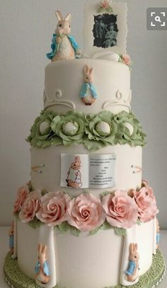 Peter Rabbit wedding cake ,Cake International entry 2014 - Cake by Ria Woort of Cakes Decor Gorgeous Cakes, Pretty Cakes, Cute Cakes, Amazing Cakes, Cake Wrecks, Beatrix Potter Cake, Beatrix Potter Nursery, Rabbit Wedding, Super Torte