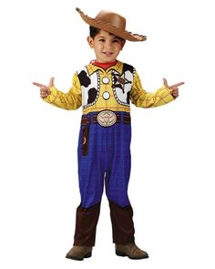 Your spunky little boy is not going to want to take this Toy Story Woody character costume off ever. The Woody Quality Child Toddler Costume features a replica design one piece jumpsuit that is incredibly detailed with the blue pants and black boots, a cowboy belt with a big gold buckle with a longhorn emblem on it, a yellow flannel shirt with a cow skin vest with a giant star sheriffs badge. No Woody costume would be complete without a cowboy hat, so also included is a brown Woody style…