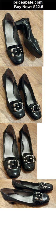 Women-Shoes: Nine West Patent Black Leather Square Toe Pumps Size US 8.5M - BUY IT NOW ONLY $22.5