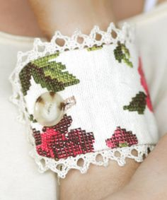 Look at this Three Bird Nest Mixed Vintage Fabric Button Bracelet on #zulily today!