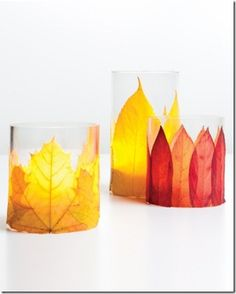 Leaves modge podged to glass votives, Thanksgiving Mantel Decor Ideas #thanksgiving #mantel #decor