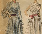 1950s Advance 5512 Vintage Sewing Pattern Misses Dress Size 14 Bust 32