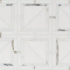 Thassos White, Calacatta Gold Honed Magra Lattice Marble Mosaics 11 11/16x11 11/16 - Marble System Inc.