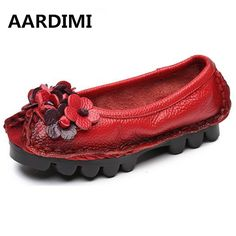 2017 New Flowers Handmade Women Genuine Leather Shoes Retro Flat Shoes Ballet Flats Women Loafers Shallow Women Flats Shoes