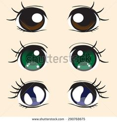 [ Anime Eyes Stock Vector Image 54992026 ] - Best Free Home Design Idea & Inspiration Chibi Eyes, Doll Face Paint, Eye Stickers, Kawaii Faces, Eye Pictures, Face Images, Cartoon Faces, People Illustration, Doll Eyes