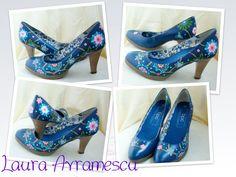 Pantofi pictati Painted Shoes, Pumps, Heels, Handmade, Fashion, Heel, Moda, Hand Made, Fashion Styles