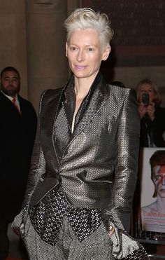Tilda Swinton attends the private view of 'David Bowie Is' at Victoria & Albert Museum in London, England.