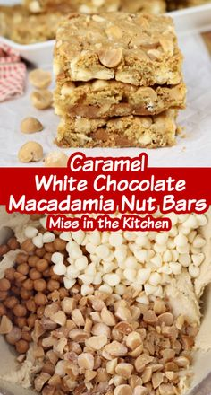Chewy and delicious Caramel White Chocolate Macdamia Nut Bars recipe is perfect for any occasion. Quick and easy to bake and share for holidays, celebrations or for a special weekday treat. Best Dessert Recipes, Delicious Desserts, Fun Desserts, Cookie Recipes, White Chocolate Macadamia, White Chocolate Chips, Chocolate Toffee Bars, Easy Dessert Bars, Nut Bar