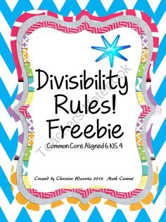 I just finished teaching the divisibility rules. My students needed some more practice so I created these worksheets. They are aligned with the Common Core Curriculum Check out my other products too! Sixth Grade Math, Fourth Grade Math, Common Core Curriculum, Common Core Math, Classroom Freebies, Math Classroom, Classroom Ideas, Math Tutor, Teaching Math
