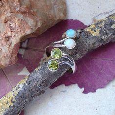 Dichroic Glas & Peridot, Ring, Ø 19,5 mm, 925 Sterling Silber in Uhren &…