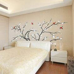 headboard wall decal | Birds Fly in Plum Tree Wall Stickers #headboardwalldeca #treeflowersbirds #bedBedsidetable