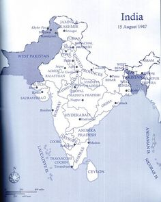 The map of India on 15 August 1947 after the Radcliffe Award was announced by Doc Kazi. History Of India, British History, World History, Women In History, History Timeline, History Facts, 15 August 1947, 1947 India, India World Map