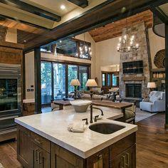 Dream House Interior, Dream Home Design, Country House Interior, Mountain Home Interiors, Log Home Interiors, Small Cabin Interiors, Rustic Interiors, Log Home Kitchens, Rustic Cabin Kitchens