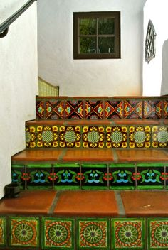 Staircase project in beautiful hand painted and handcrafted talavera decorative tile.  Custom colors at no extra charge.  Design services at no extra charge.  mexicanarttile.com