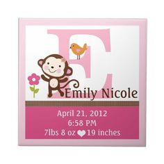 Jungle Jill Monkey Letter Name Birth Info Tile by Personalizedbydiane