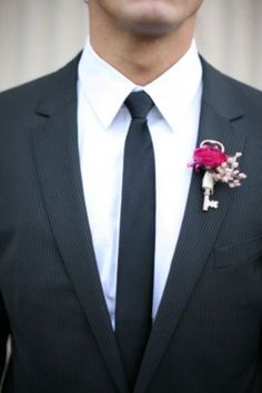 Pink Key Boutonnieres -Unique Boutonnieres | Boutonnieres Ideas | Boutonnieres Alternatives | Dream Wedding | Groom Fashion | Inspiration at www.EventDazzle.com