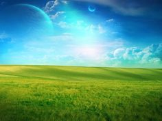 Blue Sky Grass Field Planets HD Desktop Wallpaper