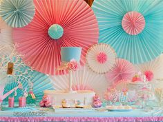 rosette backdrop made from paper window shades