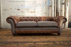 Unique British Handmade Old English Tan and Abraham Moon Wool. 3 Seater Chesterfield Sofa - Reflex C Foam Cushions, Cushions On Sofa, Vintage Leather Sofa, Bespoke Sofas, Big Sofas, Kitchen Room Design, Best Sofa, Fabric Sofa, Upholstery