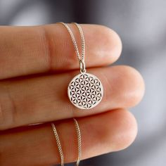 Petite Flower of Life Necklace Flower Of Life Symbol, Handmade Necklaces, Sterling Silver Chains, Pendants, Pendant Necklace, Flowers, Crafts, Jewellery, Collection