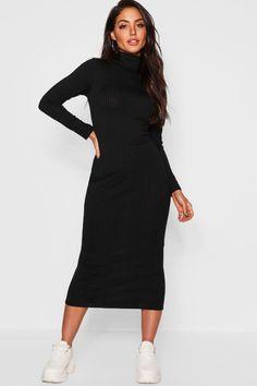 Sweater Dress Outfit, Dress Up, Bodycon Dress, Skater Dresses, Black Midi Dress Outfit, High Neck Dress, Black Turtleneck Dress, Ribbed Turtleneck, Outfit Vestidos