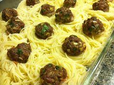 Dishin with Didi: Angel Hair Pasta Nests with Creamy Sun Dried Tomato Pesto sauce with Meatballs