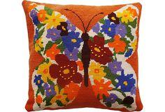 Mod Needlepoint Butterfly Pillow on OneKingsLane.com