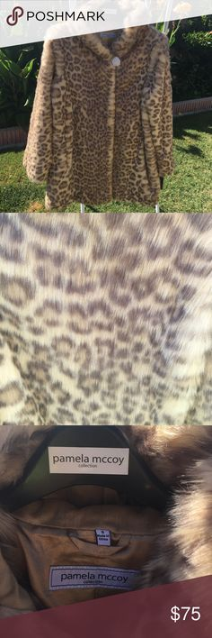 "NWT PAMELA McCOY FAUX FUR COAT NWT PAMELA McCOY LEOPARD FAUX FUR COAT. NEVER WORN. ARMPIT TO ARMPIT 18"". LENGTH OF COAT 32"". Pamela McCoy Jackets & Coats"