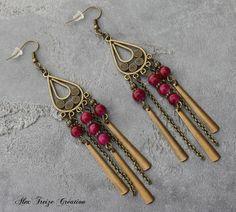 Bijou Créateur - Boucles d'oreilles pendantes bronze Pampilles longues breloques et Perles Agate Framboise