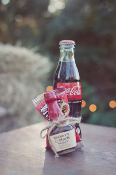 Maker's Mark and Coke wedding favor