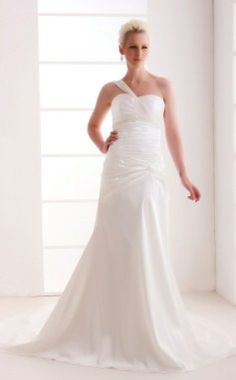 Every girl would feel wedding the utmost important and wants it to remember forever. Here is the One Shoulder Court Train Lace-up Sheath/Column Wedding Dresses With Beading Draped Ruched right for you. They usually anticipate to meeting an ideal type very fitting their original expectations and showing the preferred silhouette. Styles such as sheath dresses are crazily common between these brides-to-be. They highlight the female form and contour the whole body from top to bot - $184.99